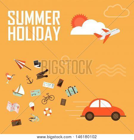 Vector illustration, transportatio summer background flat design