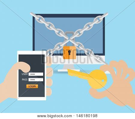 hand use key and username password on mobile for locked computer vector illustration