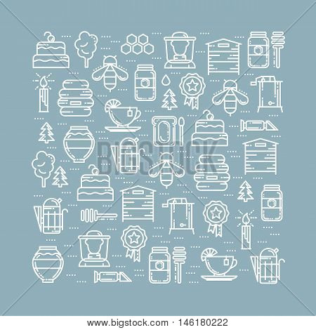 Square card with apiary thin line icons set, vector illustration. Bee honey hive beekeeper deeper tea cake candle award tree jar smoker extractor, refractometer and forest icons, white outline