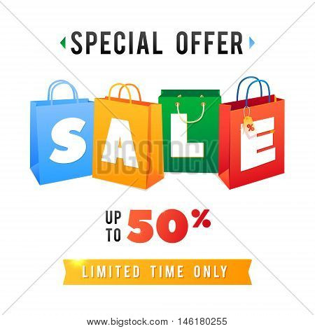 Sale Poster with percent discount. Illustration of paper shopping bags and lights. Special Offer.