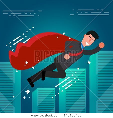 Successful Businessman Or Broker In Suit And Red Cape Flying On City Skyline Background. Vector Illu