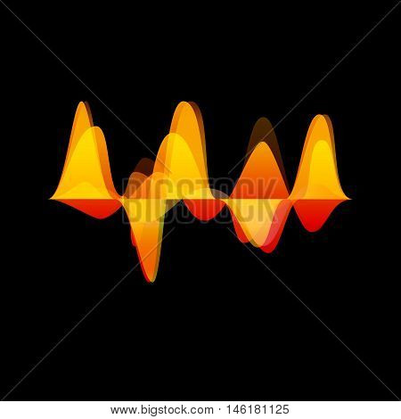 Vector audio and sound waves black background