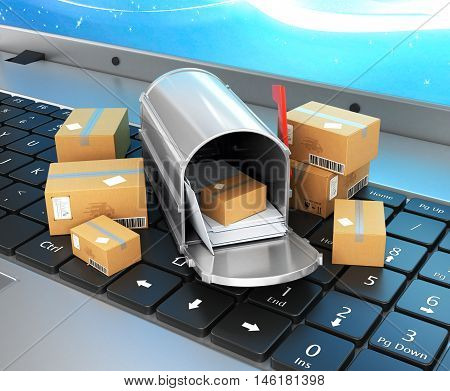 Online shopping shopping online the concept of delivery of goods cardboard boxes and a mailbox with envelopes on the laptop keyboard. 3D illustration