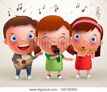 Vector character kids singing and playing guitar and flute while standing and performing in front of stage. Vector illustration.