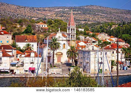 Town of Milna waterfront on Brac island Dalmatia Croatia