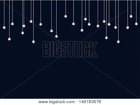 Navy Blue Abstract Background with White Stars on Strings. Vector illustration childish fairy-tale drawing.