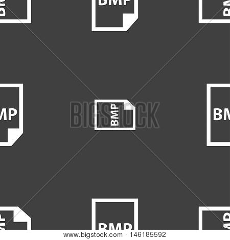 Bmp Icon Sign. Seamless Pattern On A Gray Background. Vector