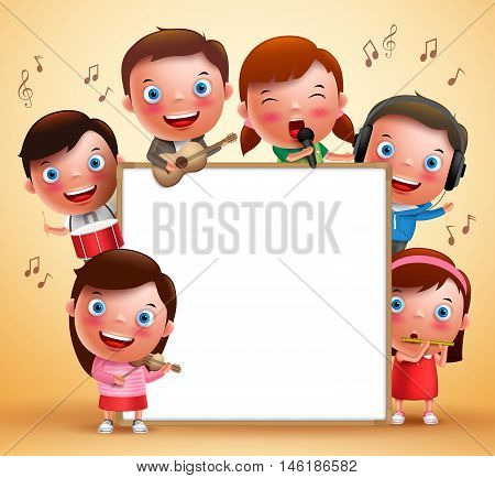 Kids vector characters playing musical instruments and singing with blank white board for text. Vector illustration.