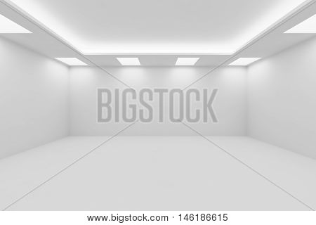 Abstract architecture white room interior - wide empty white room with white wall white floor white ceiling with square ceiling lamps and hidden ceiling lights and empty space 3d illustration