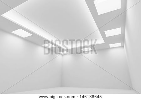 Abstract architecture white room interior - empty white room with white wall white floor white ceiling with square ceiling lamps and hidden ceiling lights wide diagonal view 3d illustration
