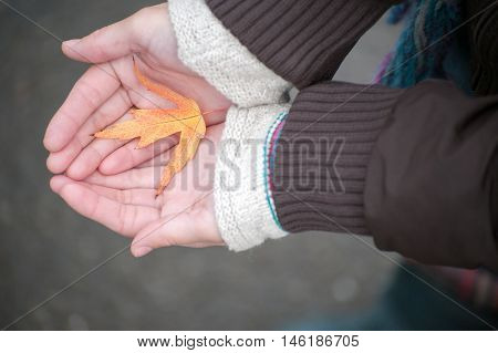 Girl in a jacket holding a fallen yellow leaf