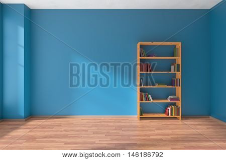 Empty room with blue wall wooden parquet floor and wooden bookshelf with many color books on shelves with light from window on blue wall and parquet floor minimalist interior 3D illustration