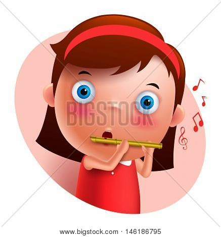 Young flutist vector character playing and holding flute isolated in white background. Vector illustration.