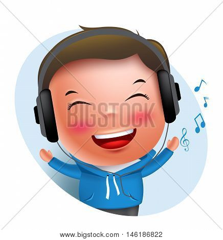 Young boy vector character listening to music in headset while singing isolated in white background. Vector illustration.