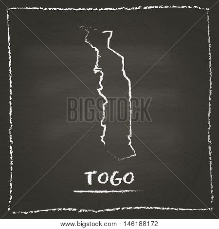 Togo Outline Vector Map Hand Drawn With Chalk On A Blackboard. Chalkboard Scribble In Childish Style