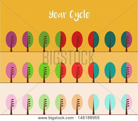 Three Color Variants of Year Cycle. Vector illustration bright or muted shades of colors nature theme.