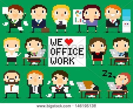 Different pixel art office characters, 8-bit characters with we love office work sign