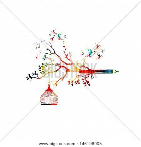Colorful pencil tree vector illustration with hummingbirds.