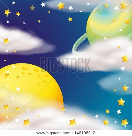 Space scene with planets and stars illustration