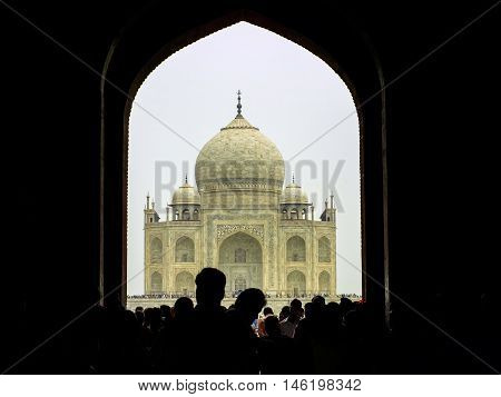 Perspective View On Taj-mahal Mausoleum With Reflection In Water.