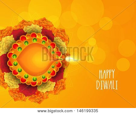 Traditional illuminated oil lit lamp, festival of lights Happy Diwali concept.