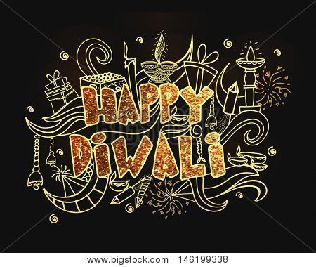 Indian festival of lights, Happy Diwali concept with golden text and elements.