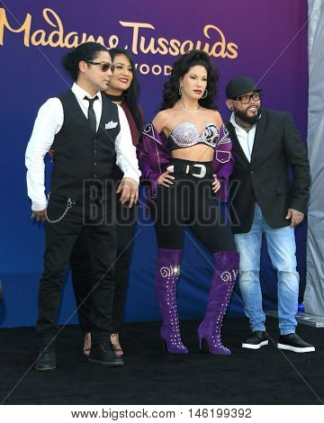 LOS ANGELES - AUG 30:  Chris Perez, Suzette Quintanilla, Selena Wax Figure, A.B. Quintanilla at the Selena Wax Figure Unveiling at the Madame Tussauds Hollywood on August 30, 2016 in Los Angeles, CA
