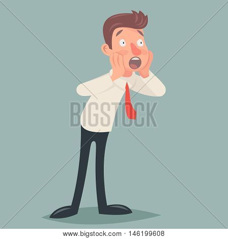 Shoked Vintage Businessman Character Icon Man Surprise Expression Cartoon Design Vector Illustration