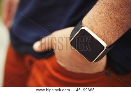 Hand Of Black Man Wearing Modern Smart Wrist Watches