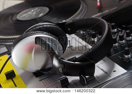 Dj Headphones On Sound Mixer