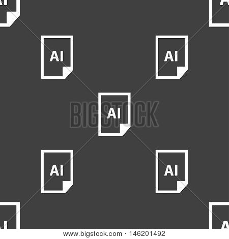 File Ai Icon Sign. Seamless Pattern On A Gray Background. Vector