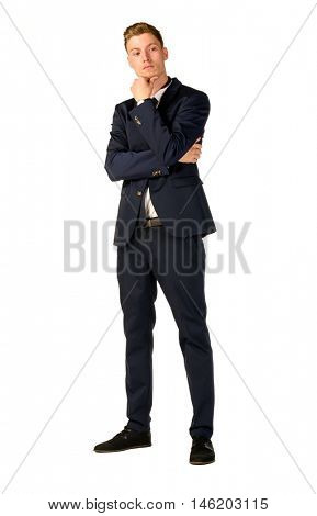 Young business man thinking full length portrait