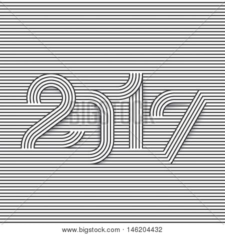 2017 creative line typography. Christmas and New Year background design. Cool visual effect. Eps10 vector illustration.