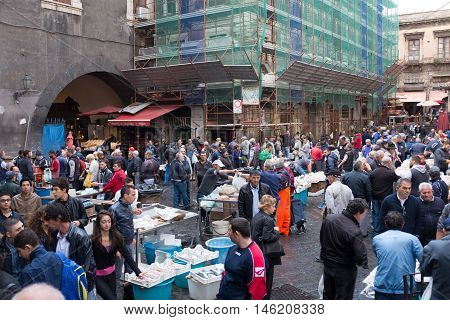 Catania, Crowds At The Fish Market