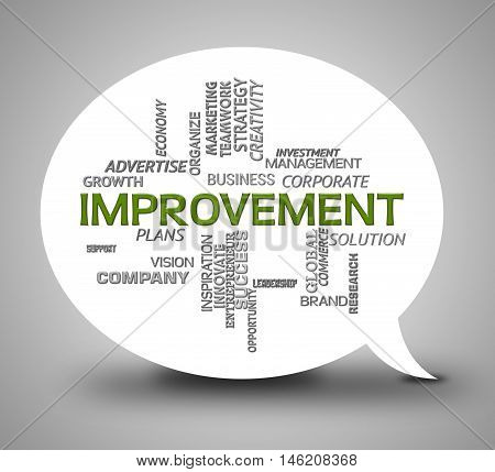 Improvement Bubble Indicates Growth Progress And Upgrade