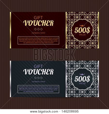 Gift voucher with luxury elegant design. Vector template for coupon or discount card. Vector sales card. Noble design template layouts.