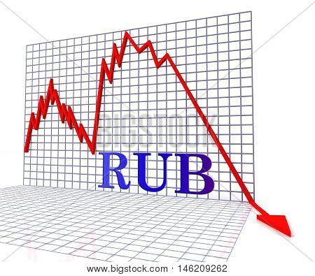 Rub Graph Negative Meaning Forex Down 3d Rendering poster