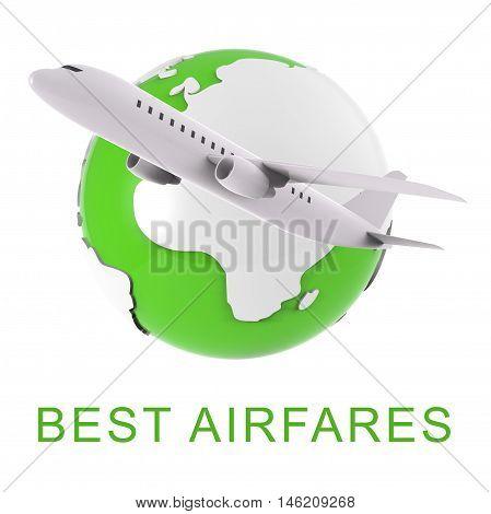 Best Airfares Indicates Optimum Cost Flights 3D Rendering