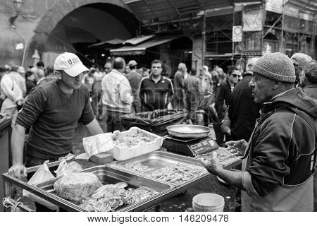 Fishermen Caught In Exhibiting At The Fish Market.