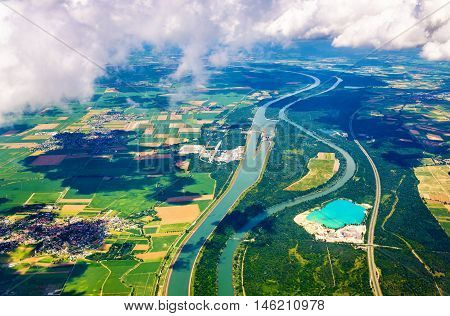 The Rhine and The Grand Canal of Alsace at Fessenheim as seen from an airplane - France