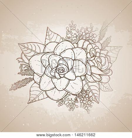Graphic floral card. Vector leaves and flowers in cute vignette isolated on aged texture. Wedding style decorations in brawn colors. Coloring book page design for adults and kids