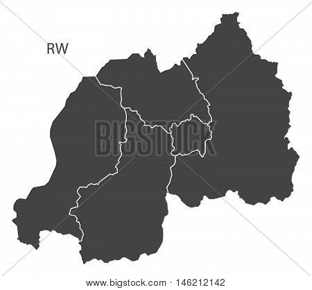 Rwanda grey map with regions isolated vector high res