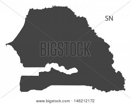 Senegal grey map isolated vector high res