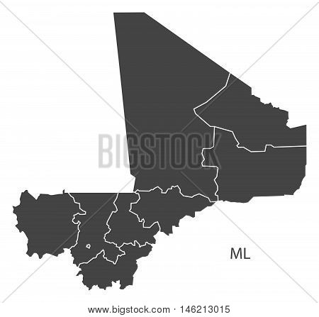 Mali grey map with regions isolated vector high res