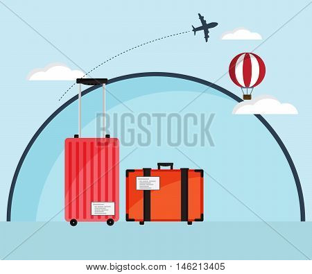 Travel Bag Luggage with Air Plane and Hot Air Balloon Flat Design Vector Illustration