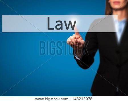 Law - Isolated Female Hand Touching Or Pointing To Button