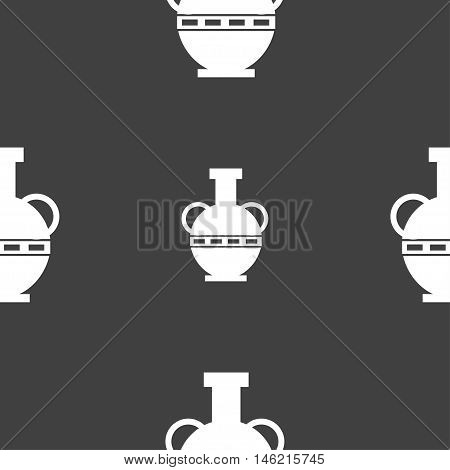 Amphora Icon Sign. Seamless Pattern On A Gray Background. Vector