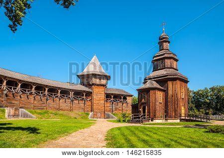 Rebuilt wooden church. In years 1669-1708 Baturin Fortress was residence of three Ukrainian Hetmans: Demian Mnohohrishny Ivan Samoilovych and Ivan Mazepa. Baturyn Chernihiv Ukraine.