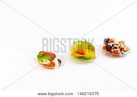 Molecular Cuisine vegetable snacks in plastic spoons