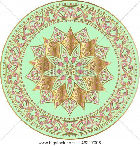 Drawing of a floral mandala in gold, pink and turquoise colors on a white background. Hand drawn tribal  vector stock illustration
